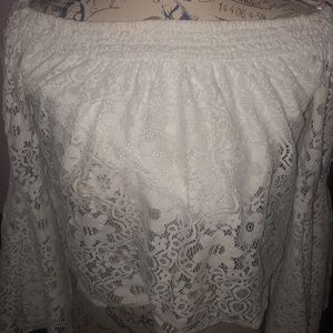 dainty white off the shoulder lace shirt